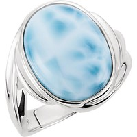 Sterling Silver Large Oval Cabochon Larimar Ring