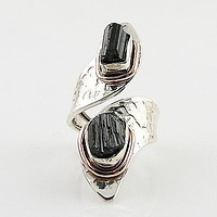 Black tourmaline Rough Two Tone Sterling Silver Adjustable Ring