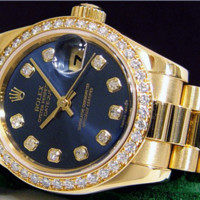 ROLEX - Ladies 18kt Gold DIAMOND President Blue Diamond Dial -179138 SANT BLANC