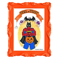 A3 Halloween Print. Spiderman Trick or Treat Poster