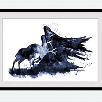 Harry Potter watercolor print Dementor and Stag art poster Harry Potter blue decor Home decoration Kids room wall art Nursery decor W697
