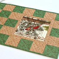 Quilted Christmas Table Runner, Cardinal Table Quilt, Table Topper, Pine Cones Sprigs, Green Table Runner, Quiltsy Handmade