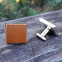 Wooden flooring sample silver-plated cuff links