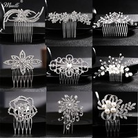 Miallo Wedding Hair Comb Clip for Bridal Rhinestone Hairpins Accessories for Bride Pearl Hair Side Combs for Women Decorative