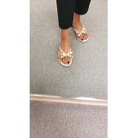 Nude Studded Bow Jelly Flat Sandals