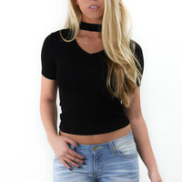 One Way Out Black Short Sleeve Top