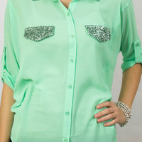 Mint Green Button Up Blouse with Sequin Pockets & Collar