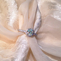 Champagne Titania Ring or Engagement Ring in White Topaz Halo Set in Sterling w/ White Gold Head