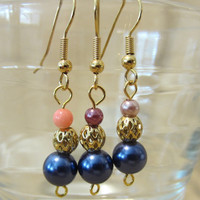 Handmade Navy Pearls, Gold Filagree & Accent Bead Dangle Earrings, Classic, Simple, Elegance, Sophisticated, Luxury, Fashion Jewelry