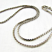 Vintage Mens Silver Chain Necklace, Short Silver Spiral Link Chain Necklace, Unique Cool Mens Jewelry, 1970s 80s Retro Modern Jewelry