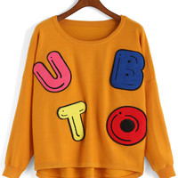 Yellow Letters Patch Embroidered Long Sleeve Knitwear
