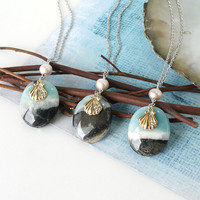 Black Amazonite Stone with Shell Charm and Pearl Necklace, Beach Lover Jewelry