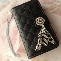 Grey Shades Fifty Handcuff Tie Mask  PU Leather iPhone 4 4/S Hard Case