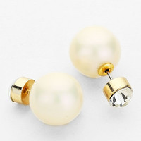 Crystal and White Pearl Double Stud Earrings