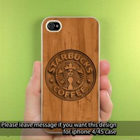 Starbuck Wood Design iPhone Case for iPhone 5, iPhone 4/4S Hard Cover Plastic