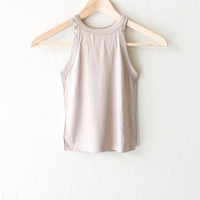 Ribbed Crop Tank Top - Taupe