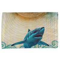 Great White Shark in Waves All Over Hand Towel