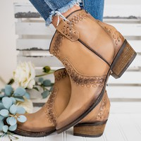 Down In The Country Leather Booties (Tan)