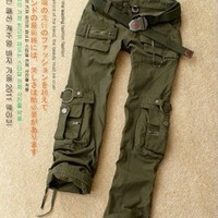 Free Shipping 2013 New Arrival Hot Ladies' Women Men Unisex Cool Army Green battle fatigues camouflage pants camouflage uniform