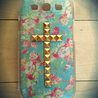 Floral Galaxy S3 studded cross case