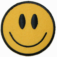Yellow Happy Face Iron On Applique Patch 2 3/4 INCH     Lot of 2