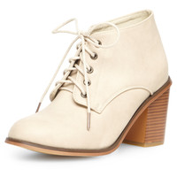 White block heel lace up boots - Boots  - Shoes
