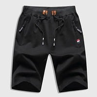 Fashion Casual Men Zipper Drawstring Waist Shorts
