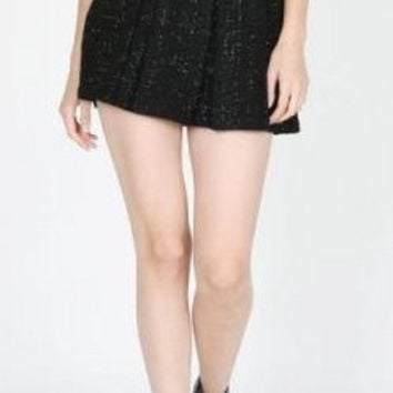 Sugar Lips Anastasia Tweed Skirt in Black