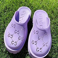GG Women's Double G Hollow Slippers Shoes / Heel height 5 CM