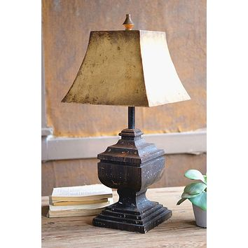 Black Wooden Table Lamp With Antique Gold Metal Shade