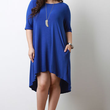 Jersey Knit Quarter Sleeve High-Low Dress