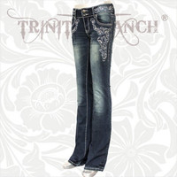 Trinity Ranch Dark Wash Designer Rhinestone Rodeo Western Ladies Fashion Jeans