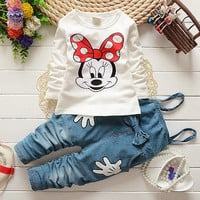 Girl overall set Baby Minnie Mouse Tops T-shirt Bib Denim Pants Outfits Set Costume 1-5Y