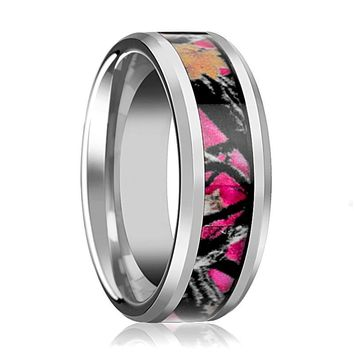 Pink Oak Leaves Camouflage Men's Tungsten Wedding Band with Beveled Edges - 6MM - 8MM