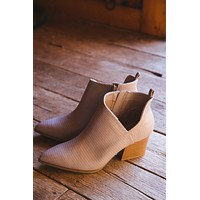 Nava Pointed Toe Bootie, Taupe Lizard