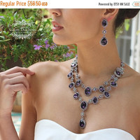 Wedding jewelry set, vintage inspired purple crystal necklace statement earrings, purple crystal jewelry set, formal jewelry , party jewelry