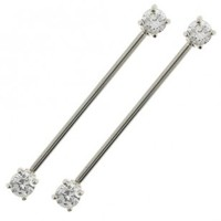 Stainless Steel Industrial Barbell with Clear CZ Gems (Prong-Set) - Sold as a set of two
