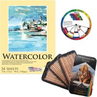 """Prismacolor 4066 Prismacolor Professional Quality Watercolor Pencil, 36 Assorted Colors/Set with US Art Supply 9""""x12"""" Watercolor Pad & Color Mixing Wheel"""