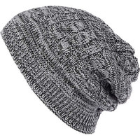 Grey cable knit beanie hat