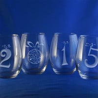 Engraved 2015 New Year Gift Stemless Wine Glasses, Set of 4