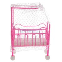 Plastic Cot Bed with Bed Net Dollhouse Furniture for Barbie Dolls