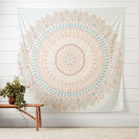 Mandala Tapestry, Blue/Orange