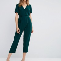 ASOS Jumpsuit with Wrap and Self Tie at asos.com
