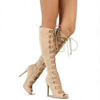 nude suede knee high boots lace up open toe sandal