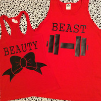 Free US Shipping Beauty and The Beast Matching Couples Tank Top Shirts Red and Red