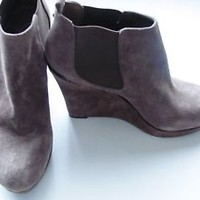 Jessica Simpson Corbyn Brown Booties Wedge Ankle Booties Size 11 Leather Boots