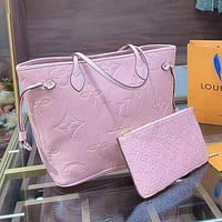 LV Louis Vuitton Women's Embossed Logo Handbag Shoulder Bag Shopping Bag Two Piece Set