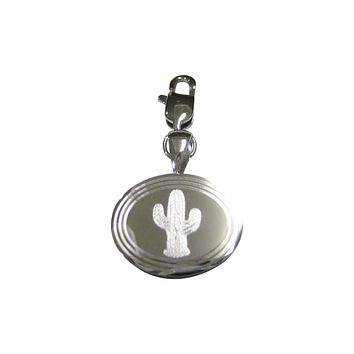 Silver Toned Etched Oval Cactus Plant Pendant Zipper Pull Charm