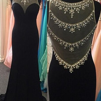 Black Round Neck Prom Dresses Black Prom Dress Black Evening Dresses