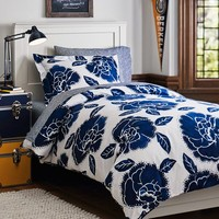 Floral Dot Duvet Cover + Sham, Royal Navy